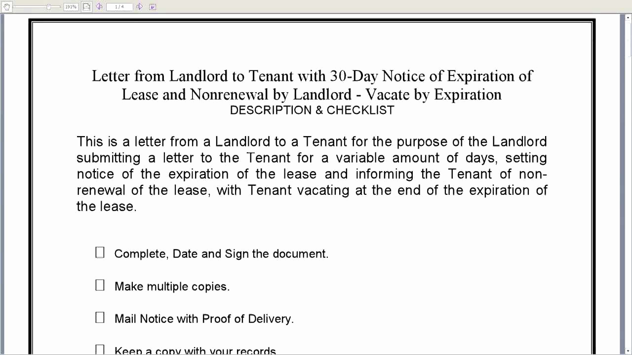 Letter to Land Lord Fresh Notice Lease Non Renewal Free Printable Documents