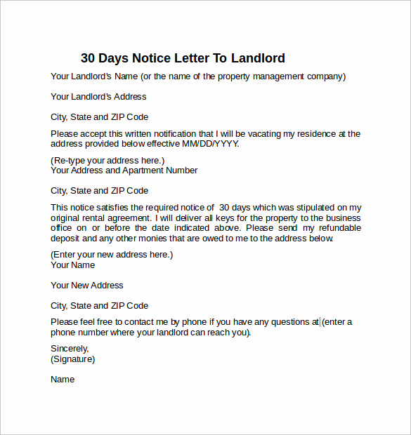 Letter to Land Lord Inspirational 10 Sample 30 Days Notice Letters to Landlord In Word