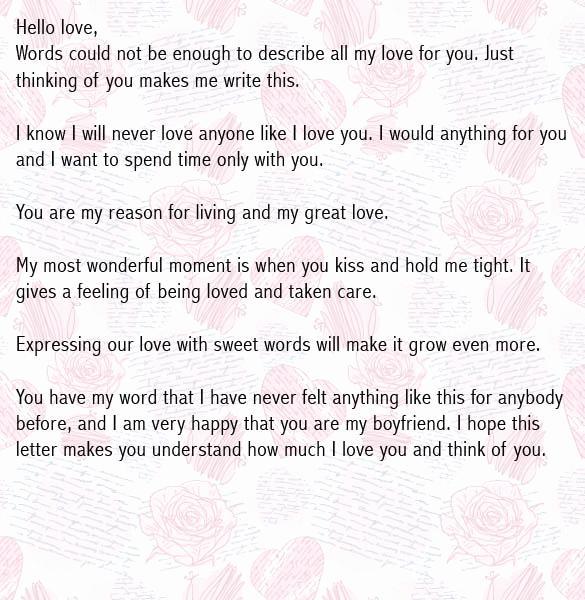 Letter to My Boyfriend Beautiful Love Letters for Boyfriend Romantic Love Letter for Him