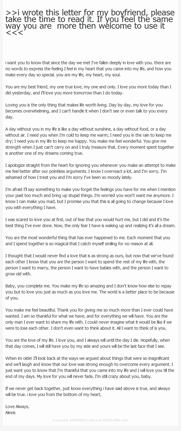 Letter to My Boyfriend Fresh I Wrote This Letter for My Boyfriend Please Take the