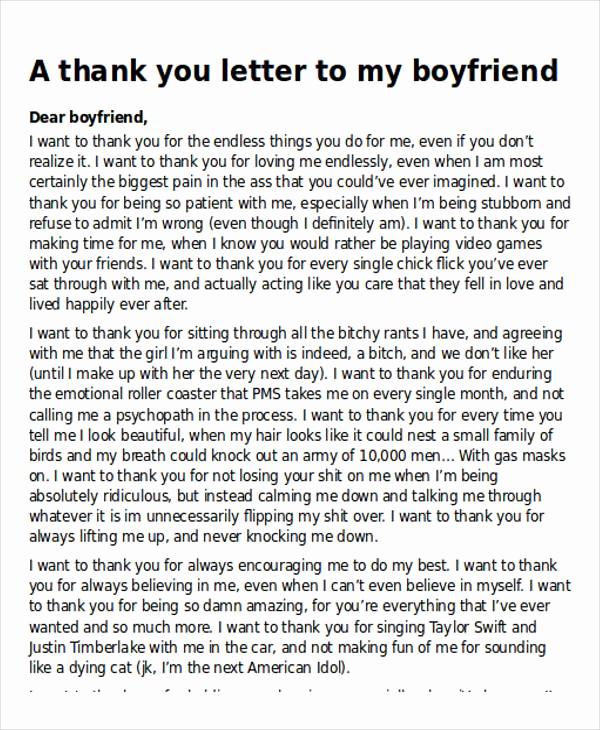 Letter to My Boyfriend Fresh Sample Thank You Letter to My Boyfriend 5 Examples In