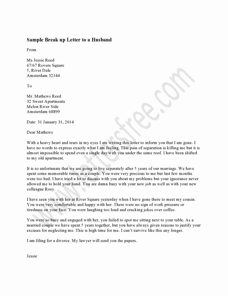 Letter to My Husband Awesome Writing A Breakup Letter to Your Husband is the Most