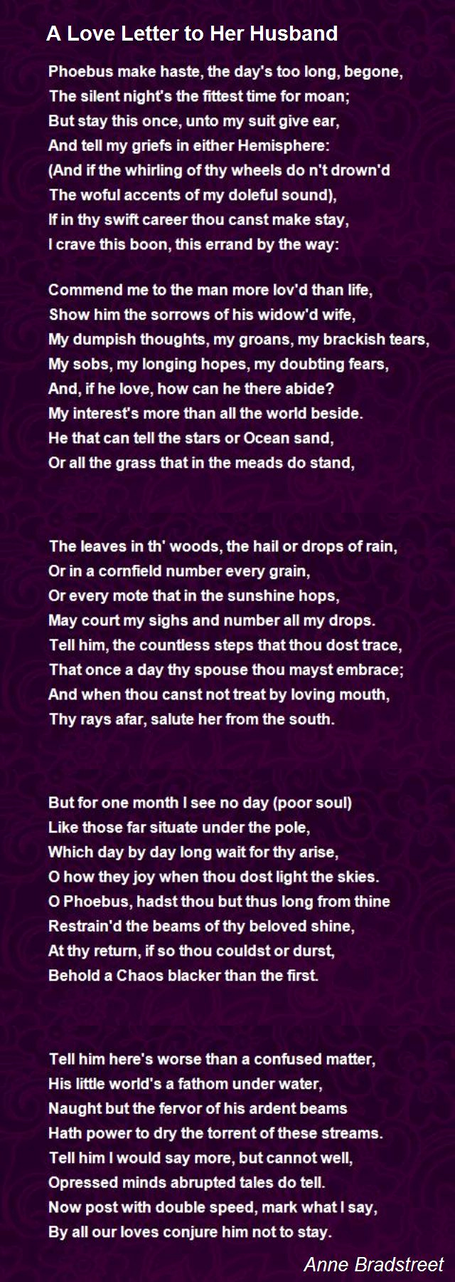 Letter to My Husband Fresh A Love Letter to Her Husband Poem by Anne Bradstreet