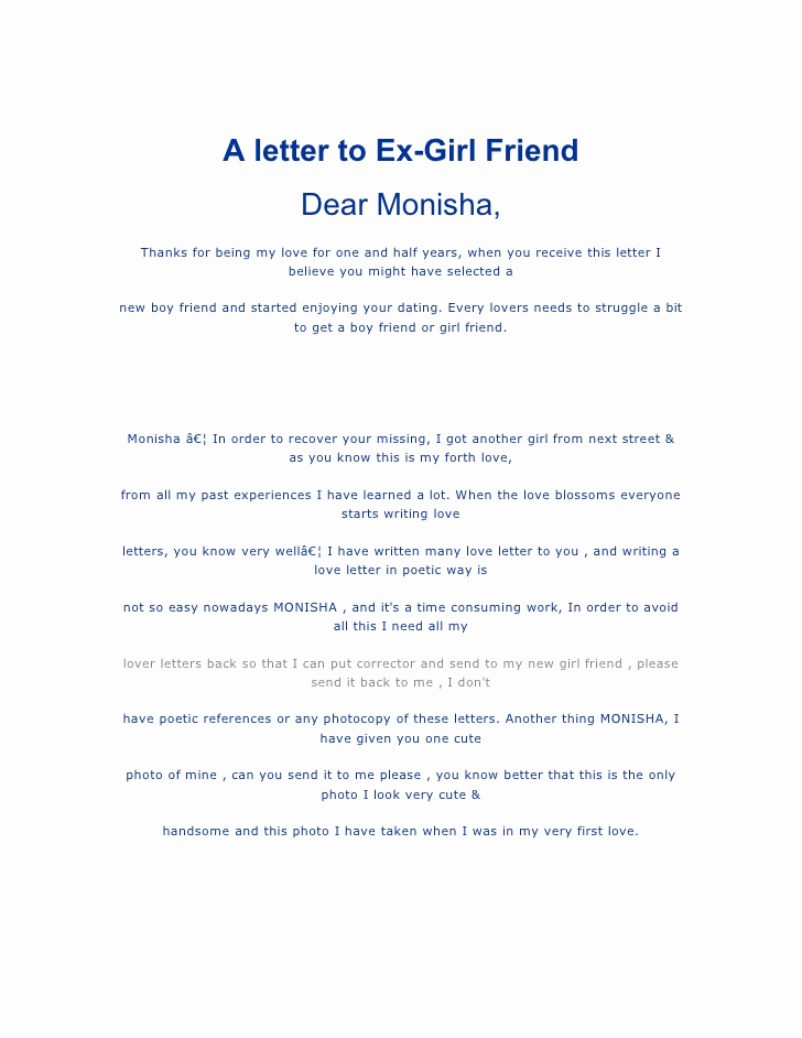 Letter to Your Girlfriend New Letter to Ex Girlfriend