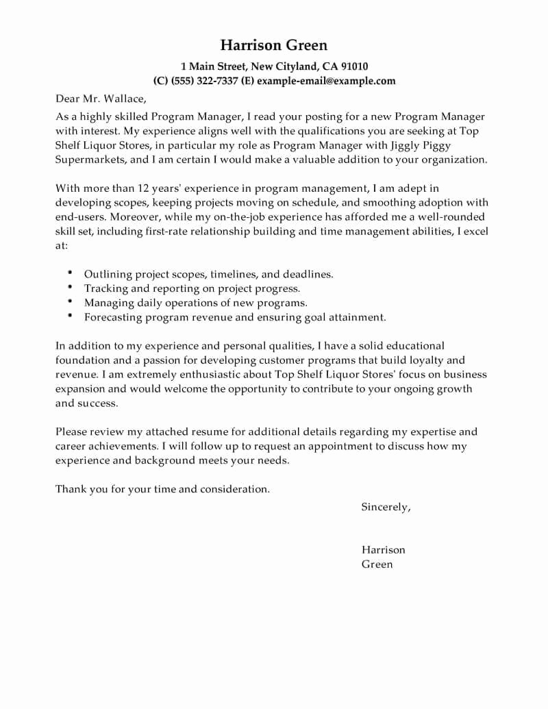 Letters Of Application Example Fresh Best Management Cover Letter Examples