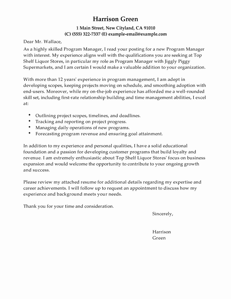 Letters Of Application Example Inspirational Free Cover Letter Examples for Every Job Search