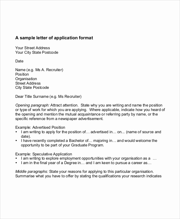 Letters Of Application Example New 32 Job Application Letter Samples