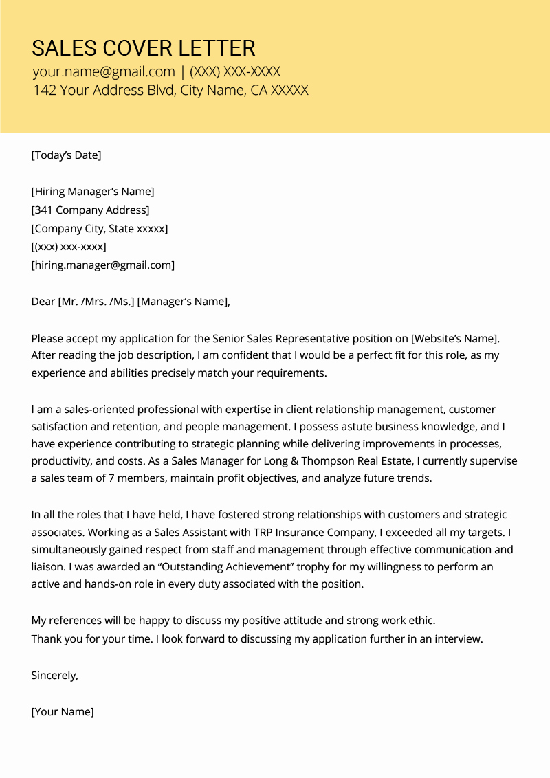 Letters Of Application Examples Elegant Sales Cover Letter Example