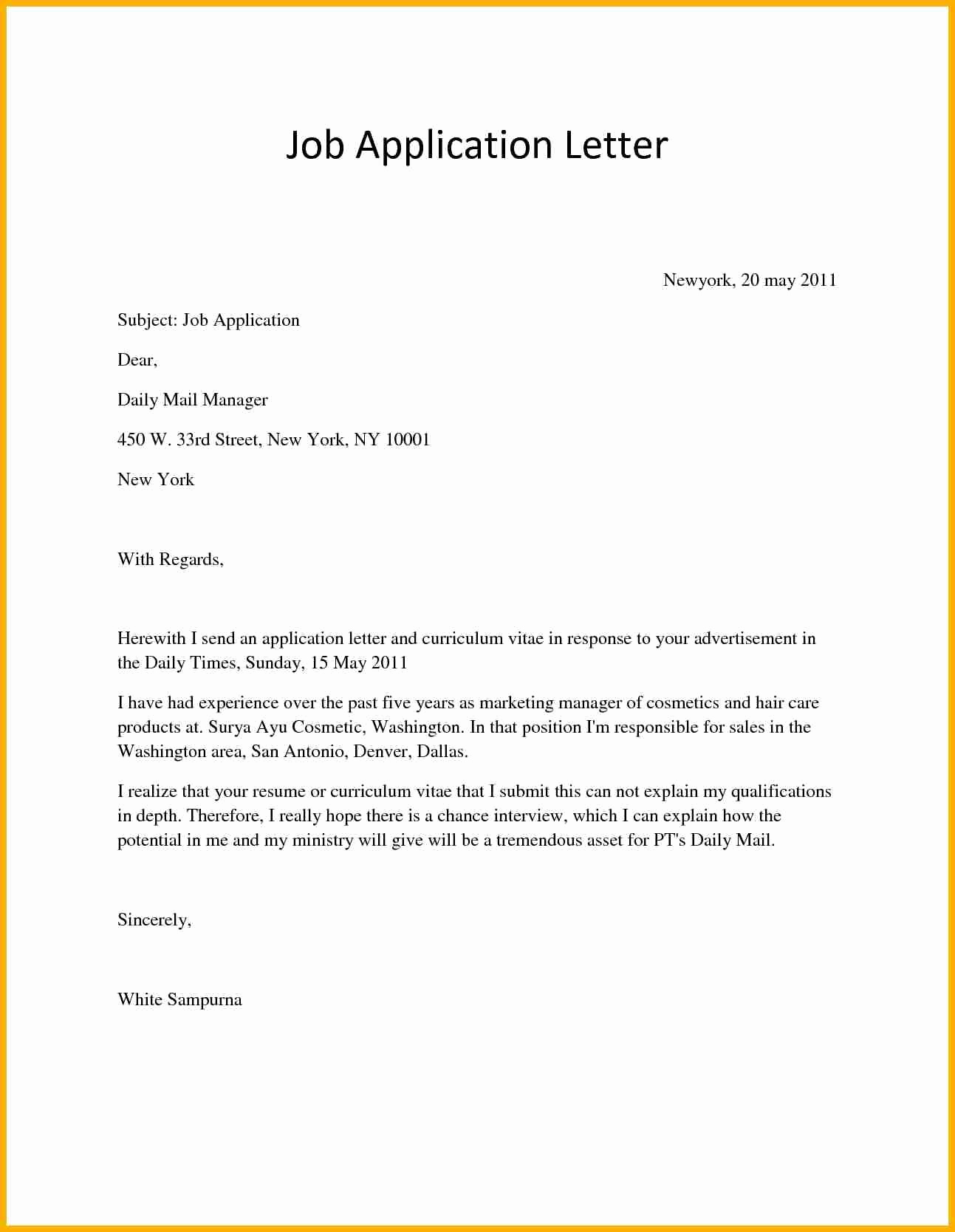 Letters Of Application Examples Lovely Application Letter for Job Vacancy Bursary Cover Example