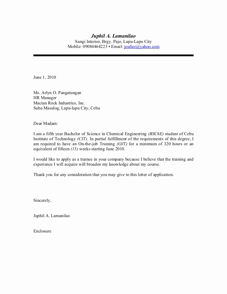 Letters Of Application Examples Luxury Ojt Application Letter