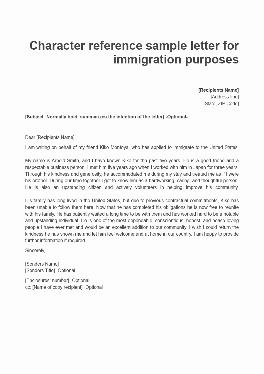 Letters Of Recommendation for Immigration New 36 Free Immigration Letters Character Reference Letters