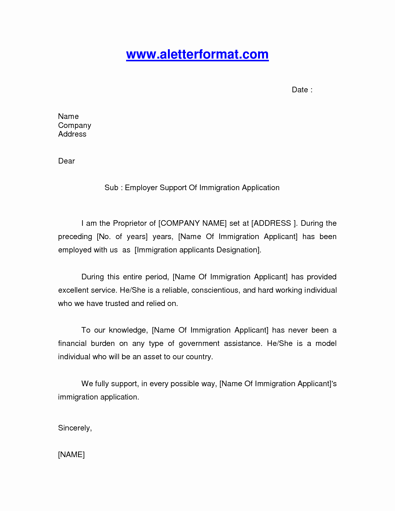 Letters Of Recommendation for Immigration New Immigration Letter Sample Google Search