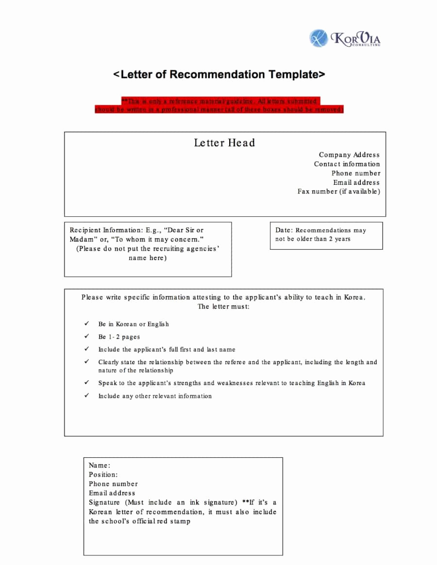 Letters Of Recommendation Template Beautiful 43 Free Letter Of Re Mendation Templates & Samples