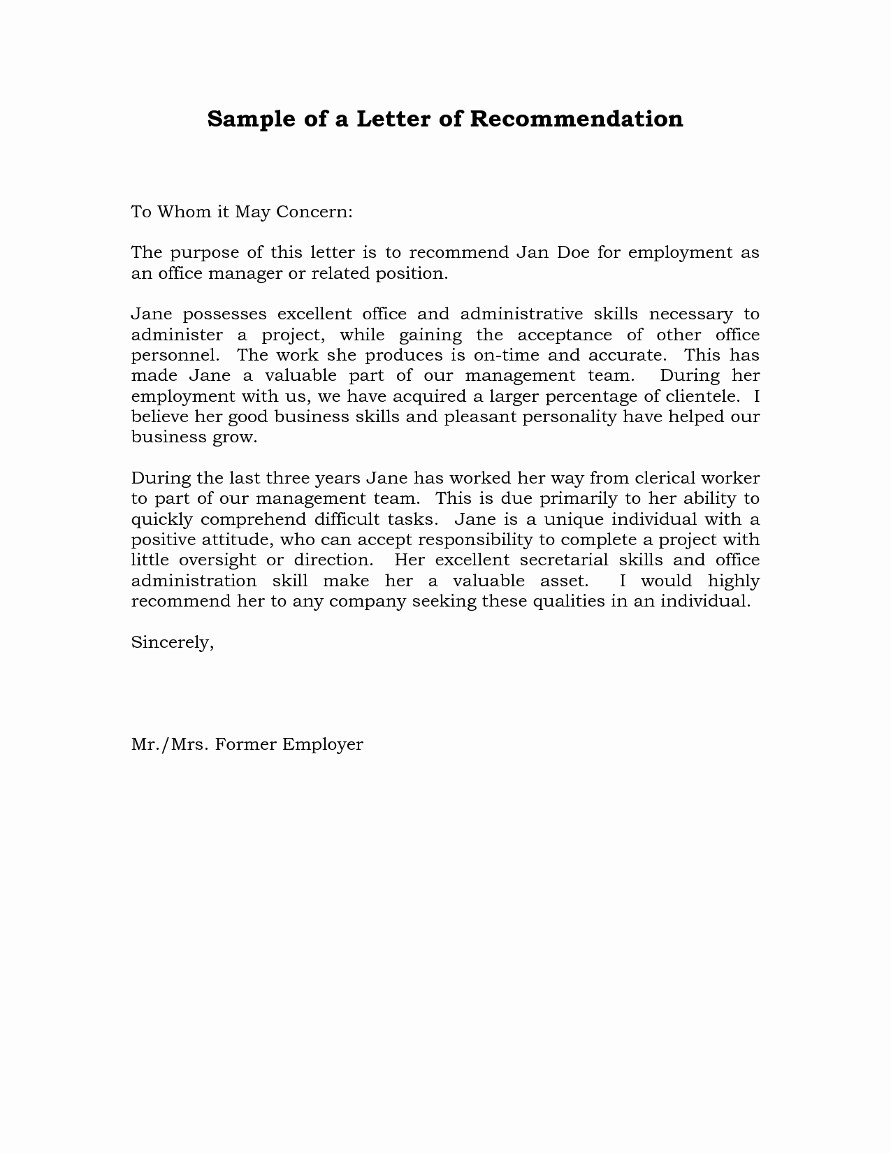 Letters Of Recommendation Template Lovely Reference Letter Of Re Mendation Sample