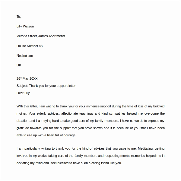 Letters Of Support Templates Awesome Sample Thank You for Your Support Letter 9 Download