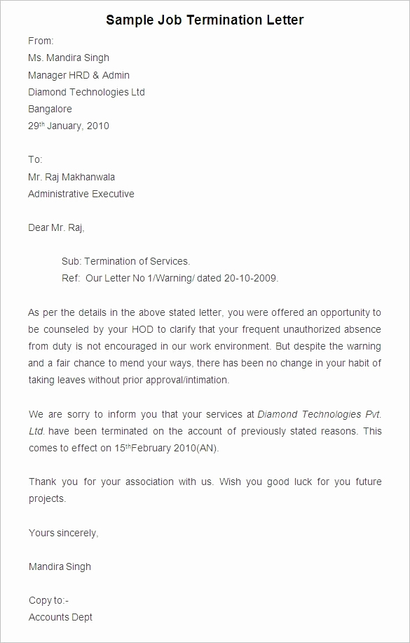 Letters Of Termination Of Employment Best Of Finest Termination Letter Template for Employee Due to