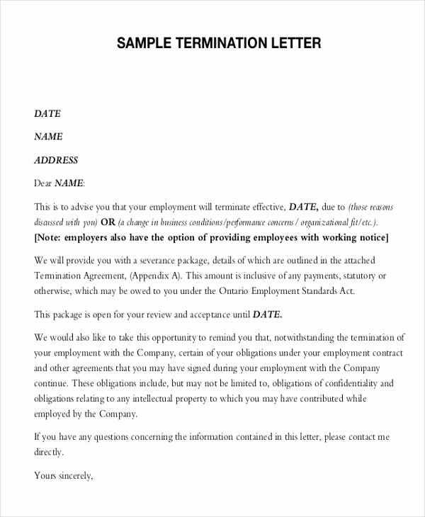 Letters Of Termination Of Employment Fresh Termination Letter format