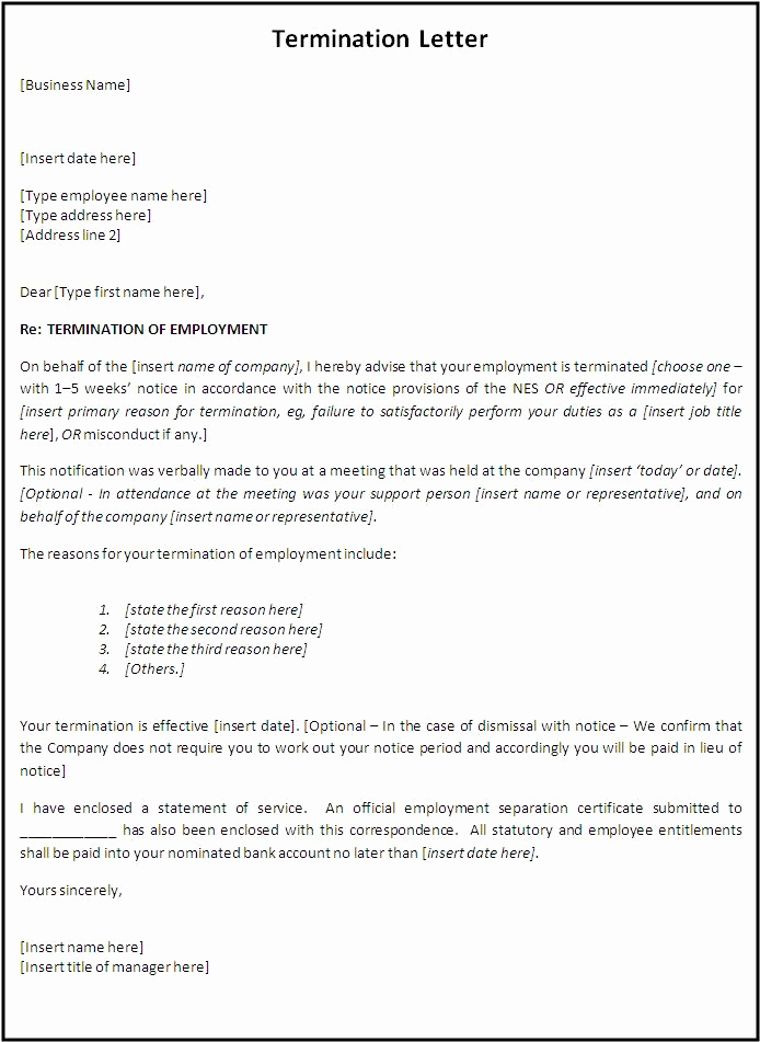 Letters Of Termination Of Employment Lovely Free Printable Letter Termination form Generic