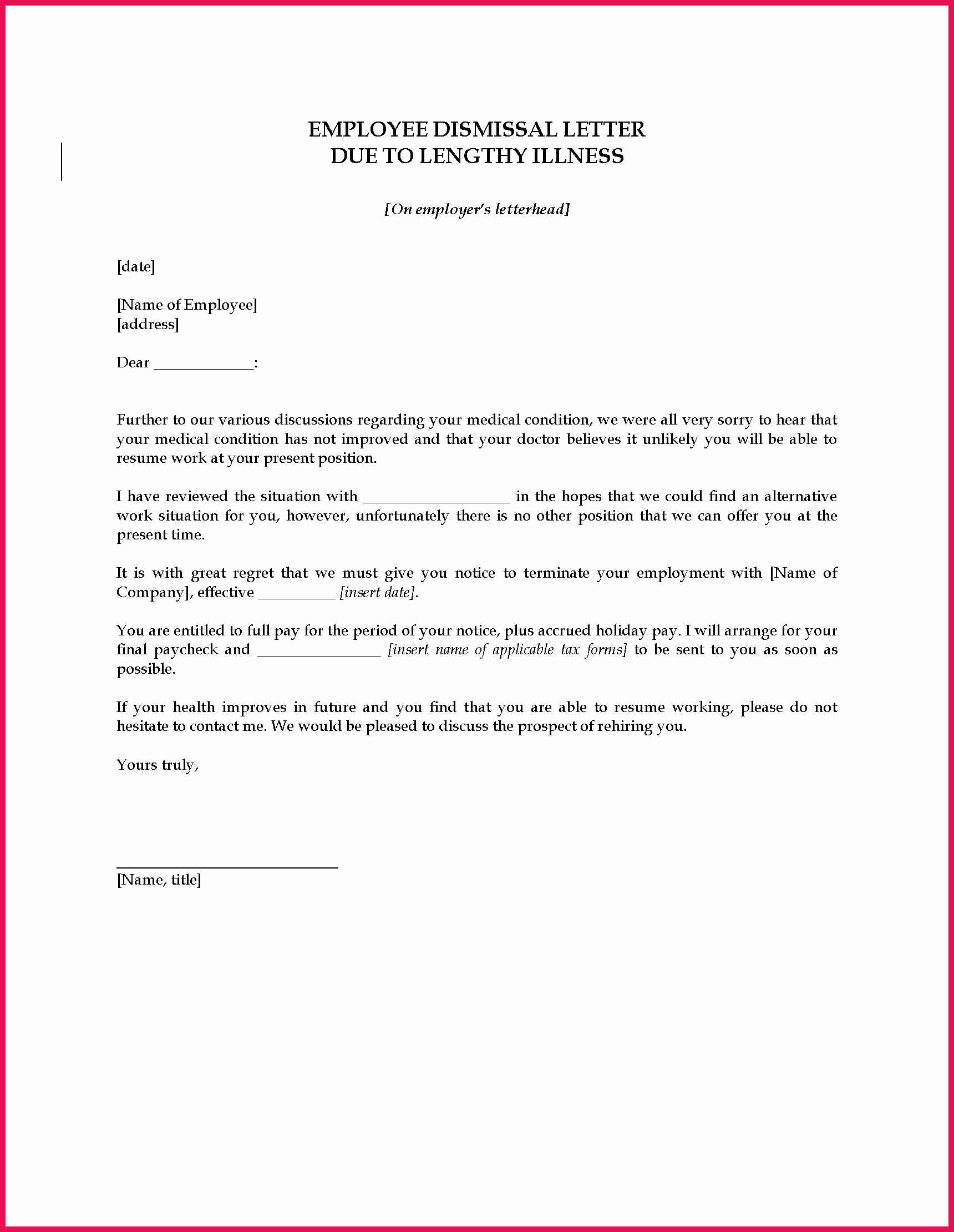 Letters Of Termination Of Employment New Employee Termination Letter