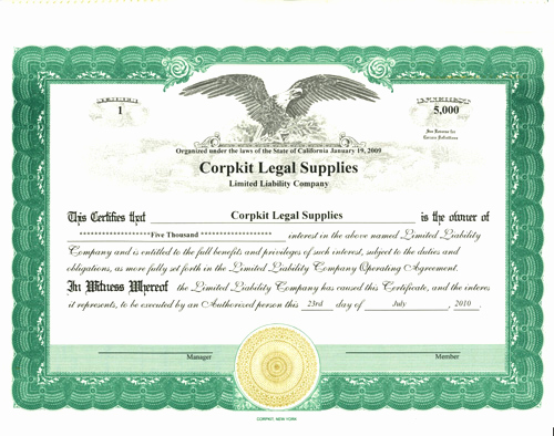 Llc Membership Certificate Template Beautiful Stock Certificate for Limited Liability Pany Interest