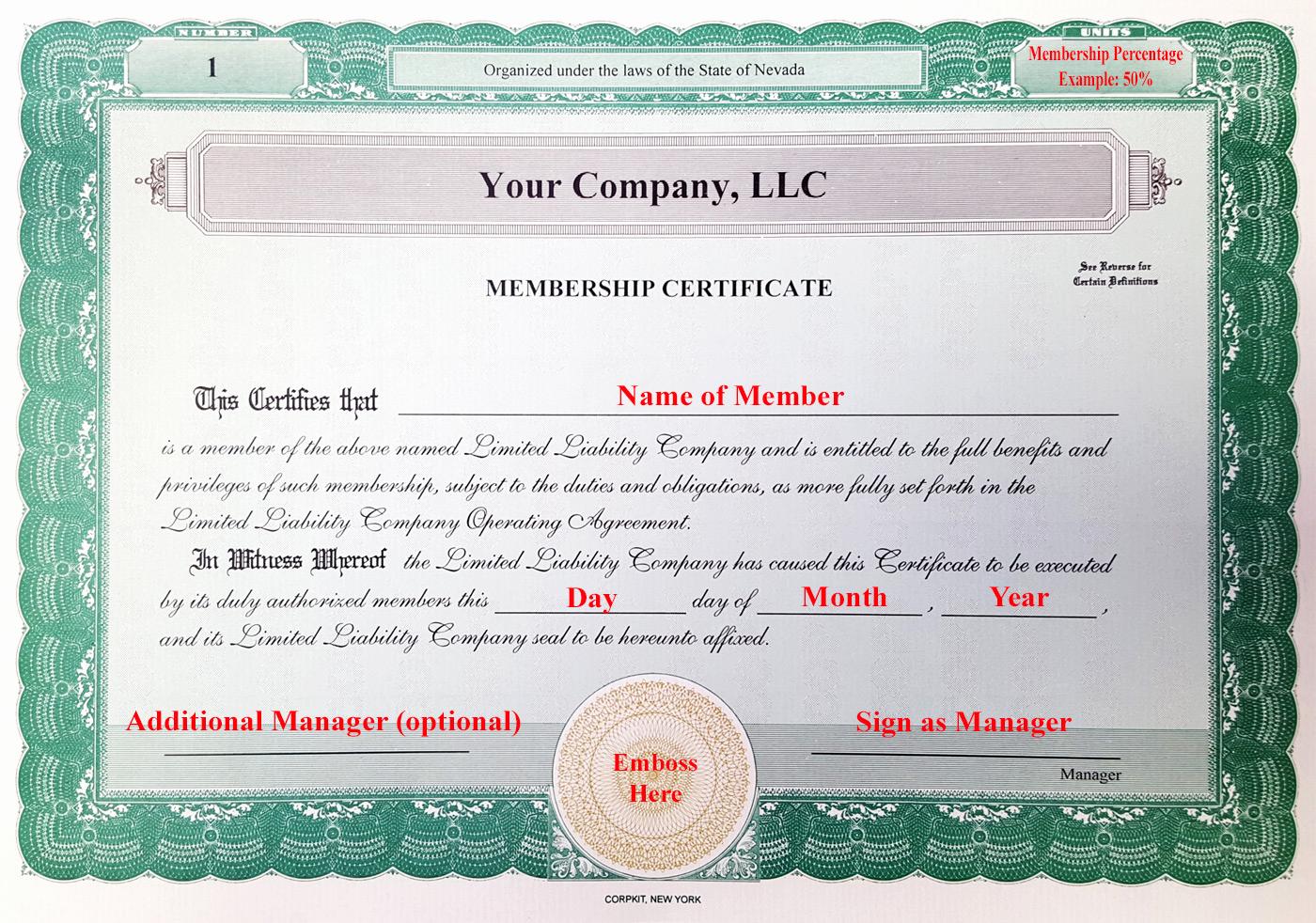 Llc Membership Certificate Template Lovely Laughlin associates Inc