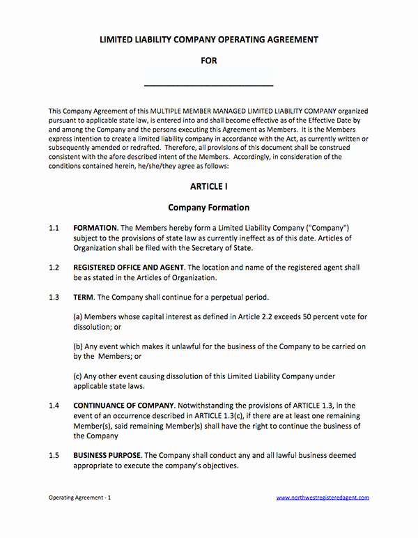 Llc Membership Certificate Template New Free Operating Agreement for Llc Member Managed Template
