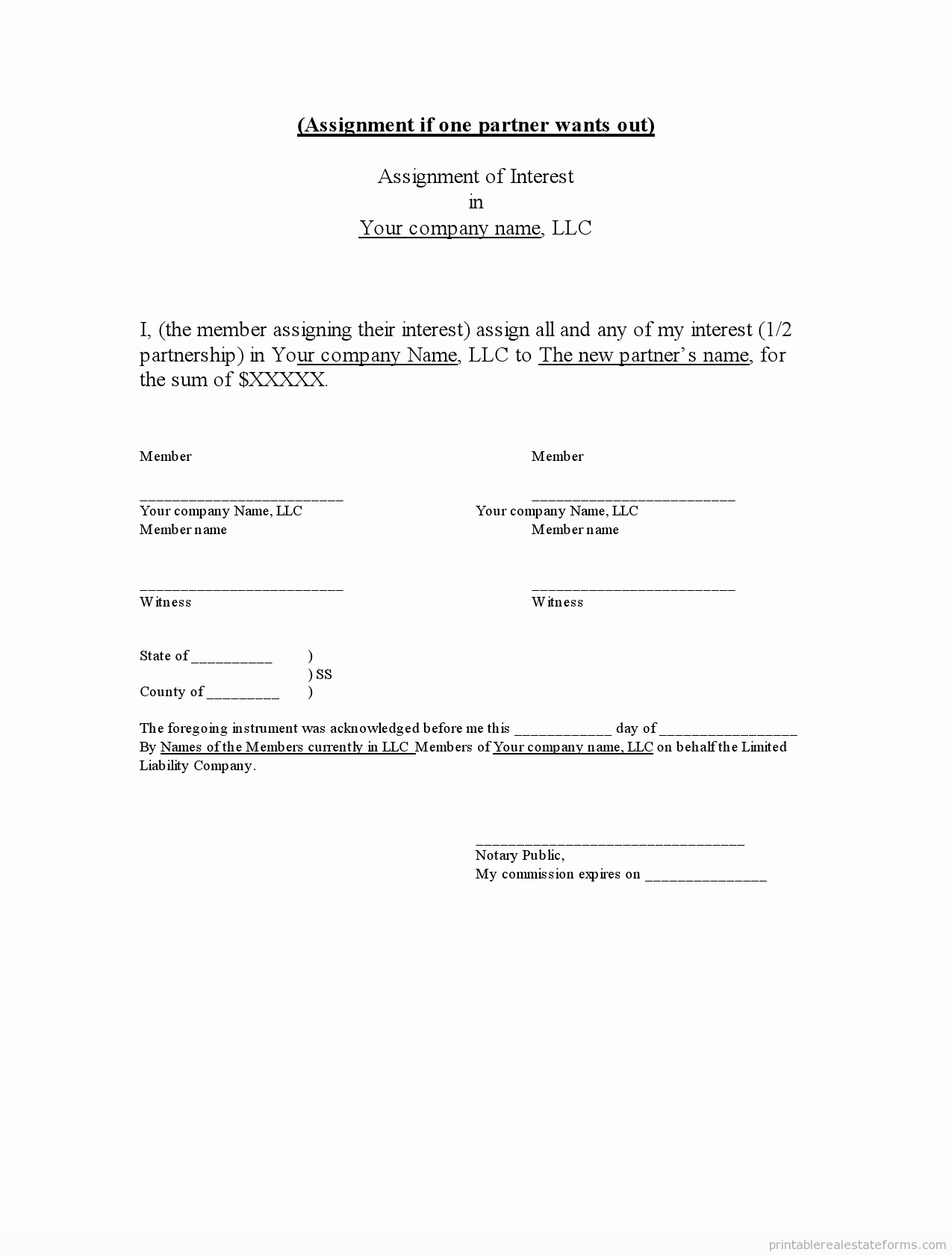Llc Membership Certificate Template New Sample Printable assignment Of Llc Interest form