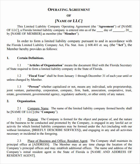 Llc Operating Agreement Pdf Awesome 9 Sample Llc Operating Agreement Templates to Download