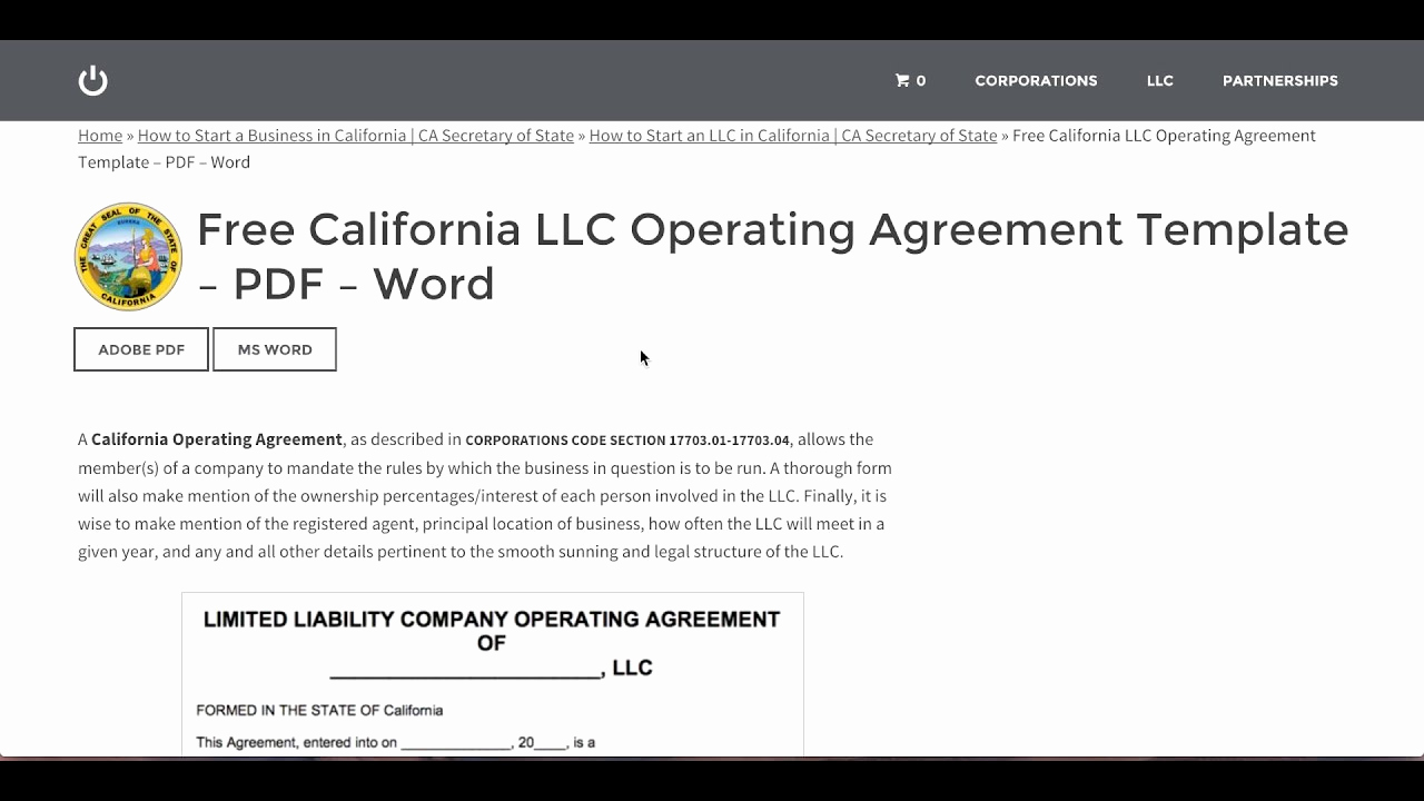 Llc Operating Agreement Pdf Awesome Free California Llc Operating Agreement Template – Pdf