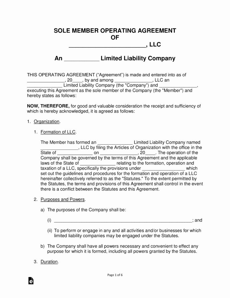 Llc Operating Agreement Pdf Awesome Free Single Member Llc Operating Agreement Templates Pdf