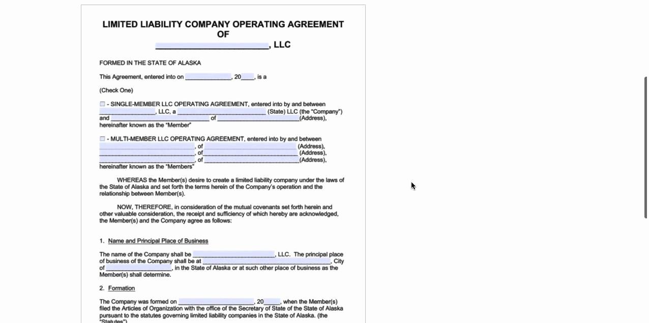 Llc Operating Agreement Pdf Beautiful Alaska Llc Operating Agreement Template Pdf Word