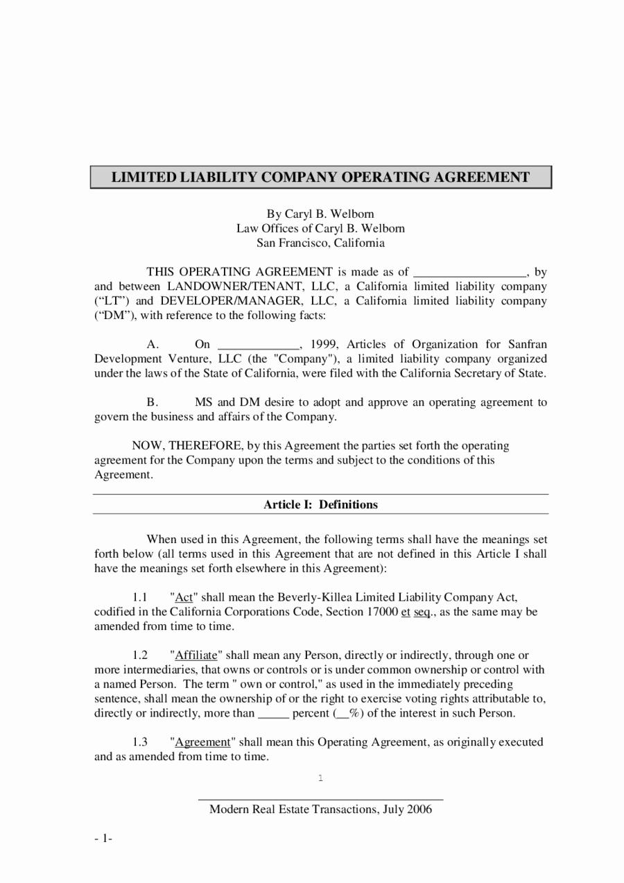 Llc Operating Agreement Pdf Inspirational 2018 Llc Operating Agreement Template Fillable