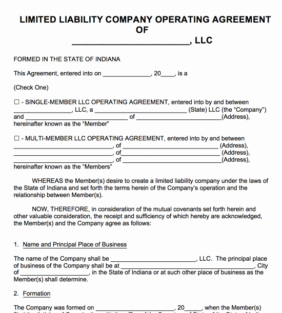 Llc Operating Agreement Pdf Luxury Free Indiana Llc Operating Agreement Template Pdf
