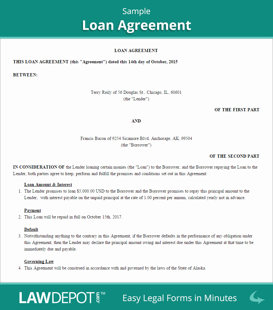 Loan Agreement Between Individuals Fresh Free Loan Agreement Create Download and Print