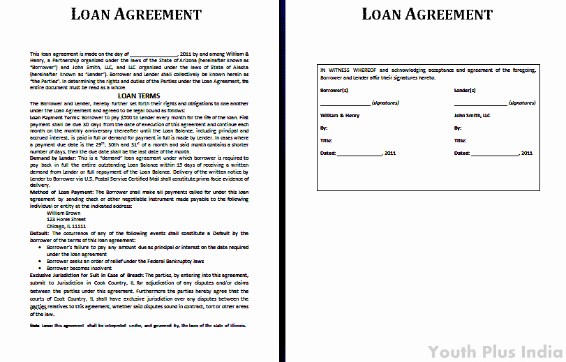 Loan Agreement Between Individuals Unique Templates Archives Youth Plus India