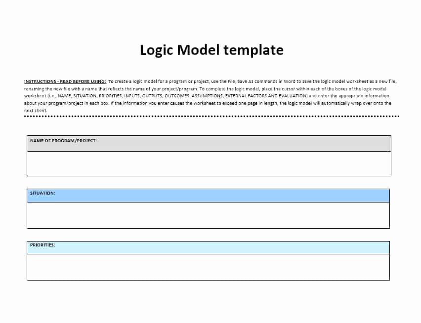 Logic Model Template Word Lovely 11 Logic Model Templates