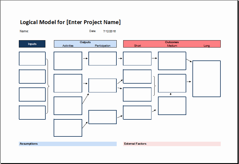 Logic Model Template Word New Logical Model Flow Chart Template for Excel