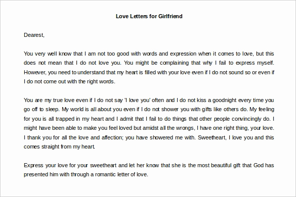 Love Letter to Girlfriend Awesome Love Letters – 11 Free Word Documents Download