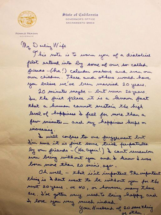 Love Letter to Wife Luxury Precious Letter From Ronald Reagan to Nancy His Wife
