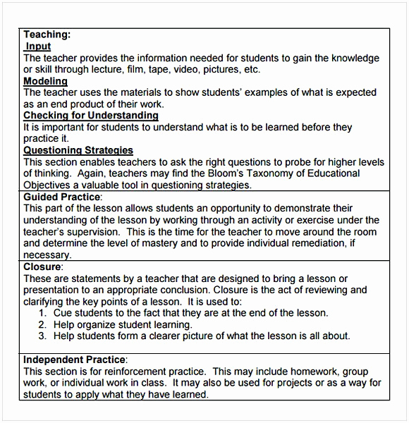 Madeline Hunter Lesson Plan Example Awesome Madeline Hunter Lesson Plan Template