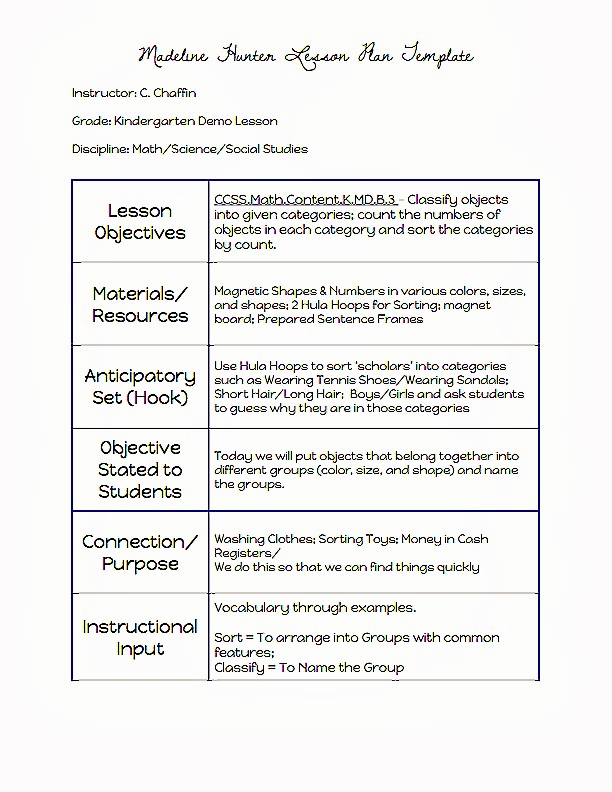 Madeline Hunter Lesson Plan Example Awesome Mon Core Blogger Madeline Hunter Lesson Plan Template