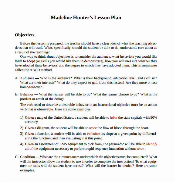 Madeline Hunter Lesson Plan Example Beautiful 12 Sample Madeline Hunter Lesson Plans