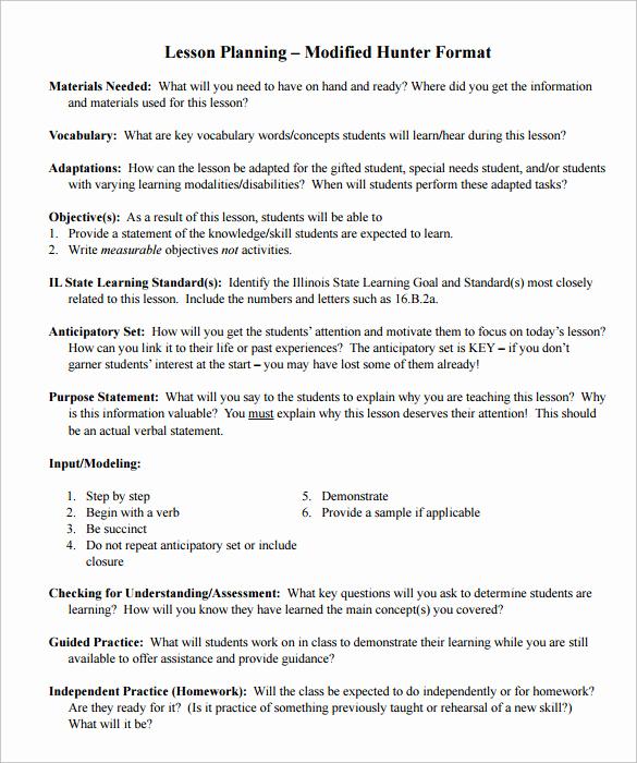 Madeline Hunter Lesson Plan Example Best Of 12 Sample Madeline Hunter Lesson Plans