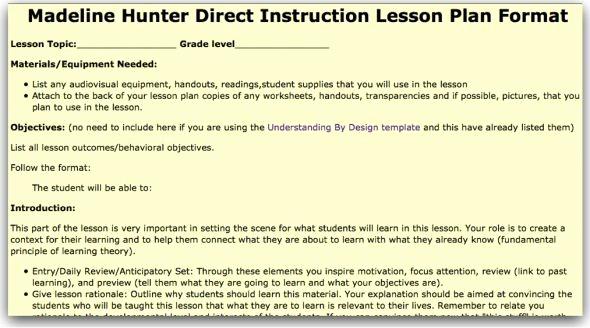 Madeline Hunter Lesson Plan Example Fresh Madeline Hunter Lesson Plan Template Model