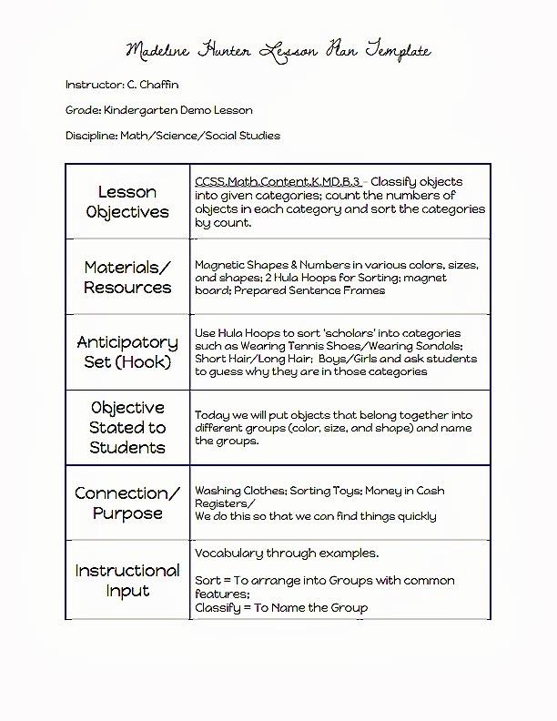 Madeline Hunter Lesson Plan Example Fresh Madeline Hunter Lesson Plan Template Word 2018