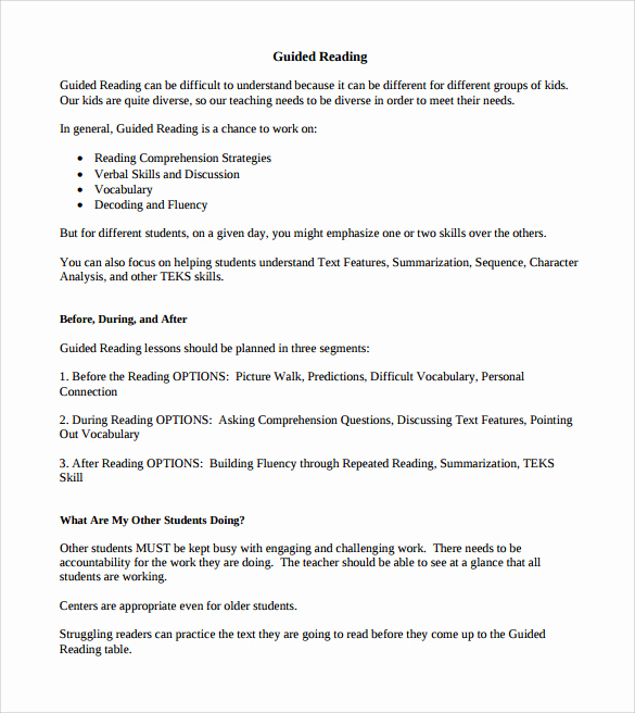 Madeline Hunter Lesson Plan Example Fresh Sample Guided Reading Lesson Plan Template – 9 Free