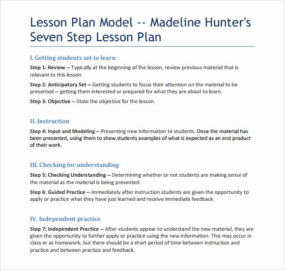 Madeline Hunter Lesson Plan Example Lovely 12 Sample Madeline Hunter Lesson Plans