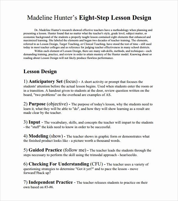 Madeline Hunter Lesson Plan Example New 12 Sample Madeline Hunter Lesson Plans