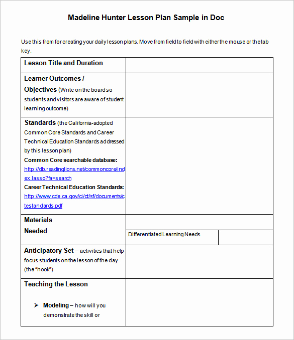 Madeline Hunter Lesson Plan Example New Lesson Plan Template – 43 Free Word Excel Pdf format