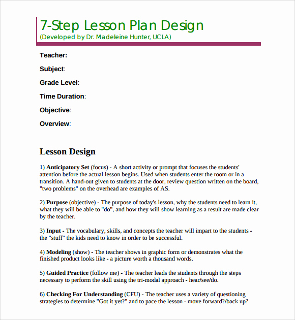 Madeline Hunter Lesson Plan Example Unique Sample Madeline Hunter Lesson Plan Template 9 Free